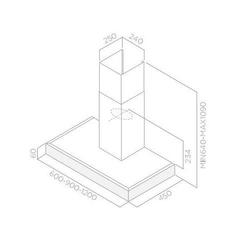 Elica Spot Plus X/A/90 Cappa aspirante a parete 625 m³/h 3 velocità Classe A acciaio inox