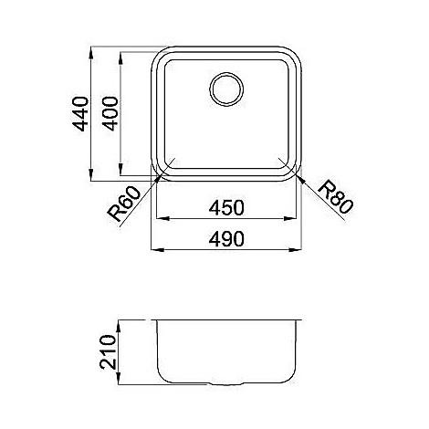 Elleci LIC450SACUN Space 450 R50 Lavello 49x44 1 vasca senza gocciolatoio Sottotop colore Acciaio Inox