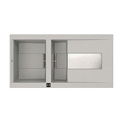 emi47579 elleci lavello sirex 475 100x51,6 1+1/2 vasche aluminium 79 elettronico vasca sx
