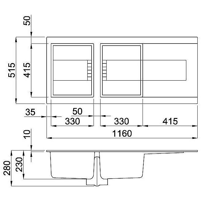 emi50073dx elleci lavello sirex 500 116x51,6 2 vasche titanium 73 elettronico vasca dx