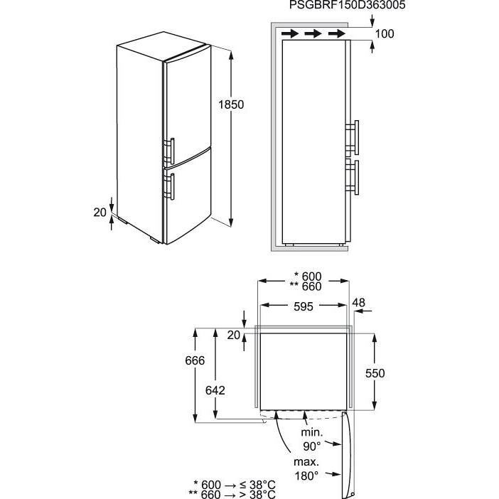 en-3453mox rex frigorifero combinato 338lt vent/nf inox a++