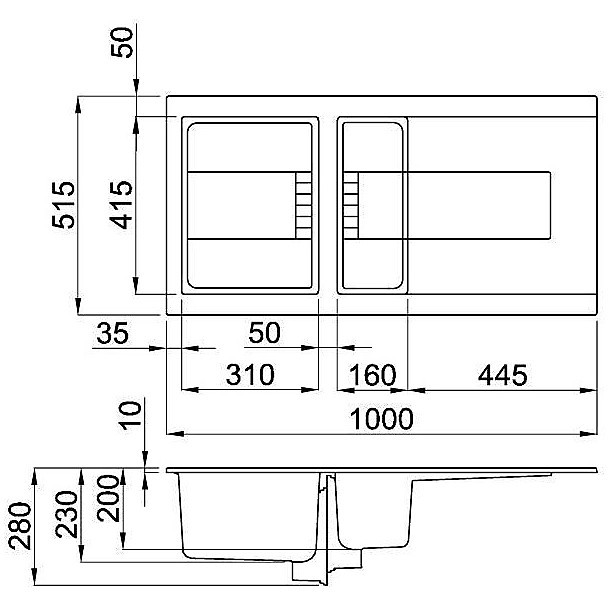 evi47586 elleci lavello sirex 475 100x51,6 1+1/2 vasche black 86 elettronico vasca sx