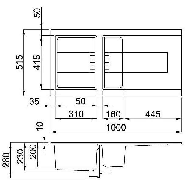 evi47586dx elleci lavello sirex 475 100x51,6 1+1/2 vasche black 86 elettronico vasca dx