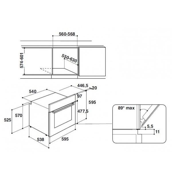 fa3-540 h ix ha hotpoint/ariston forno da incasso classe a 66 litri inox