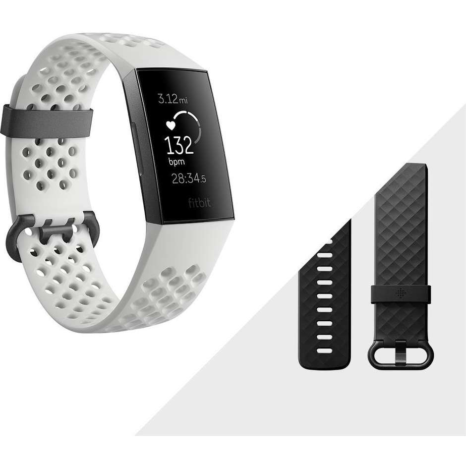 Fitbit FB410GMWT-EU Charge 3 Special Edition fitness band touch-screen Bluetooth NFC colore bianco/nero
