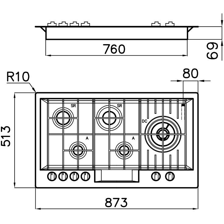 Foster 7201 032 piano cottura a gas 90 cm 5 fuochi griglie in ghisa colore inox