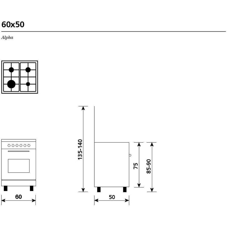 Glem Gas A654VX cucina 60x50 4 fuochi a gas forno a gas con grill elettrico 54 litri classe A colore bianco