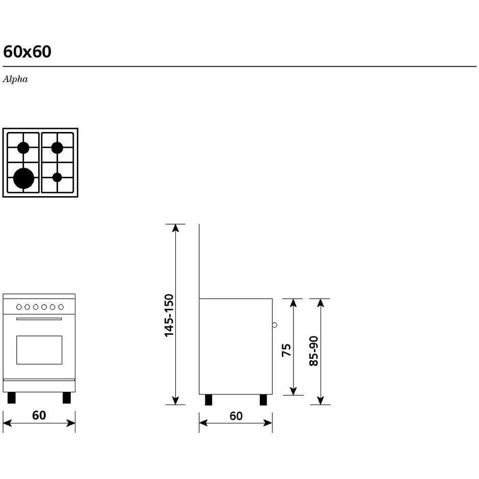 Glem Gas A664MI6 cucina 60x60 4 fuochi a gas forno elettrico multifunzione classe A 64 litri inox