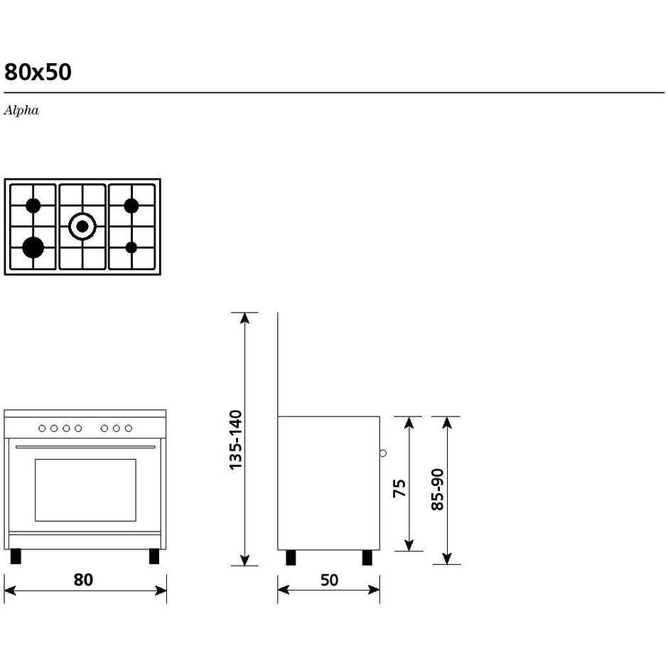 glem gas a855gc cucina 80x50 5 fuochi a gas forno a gas
