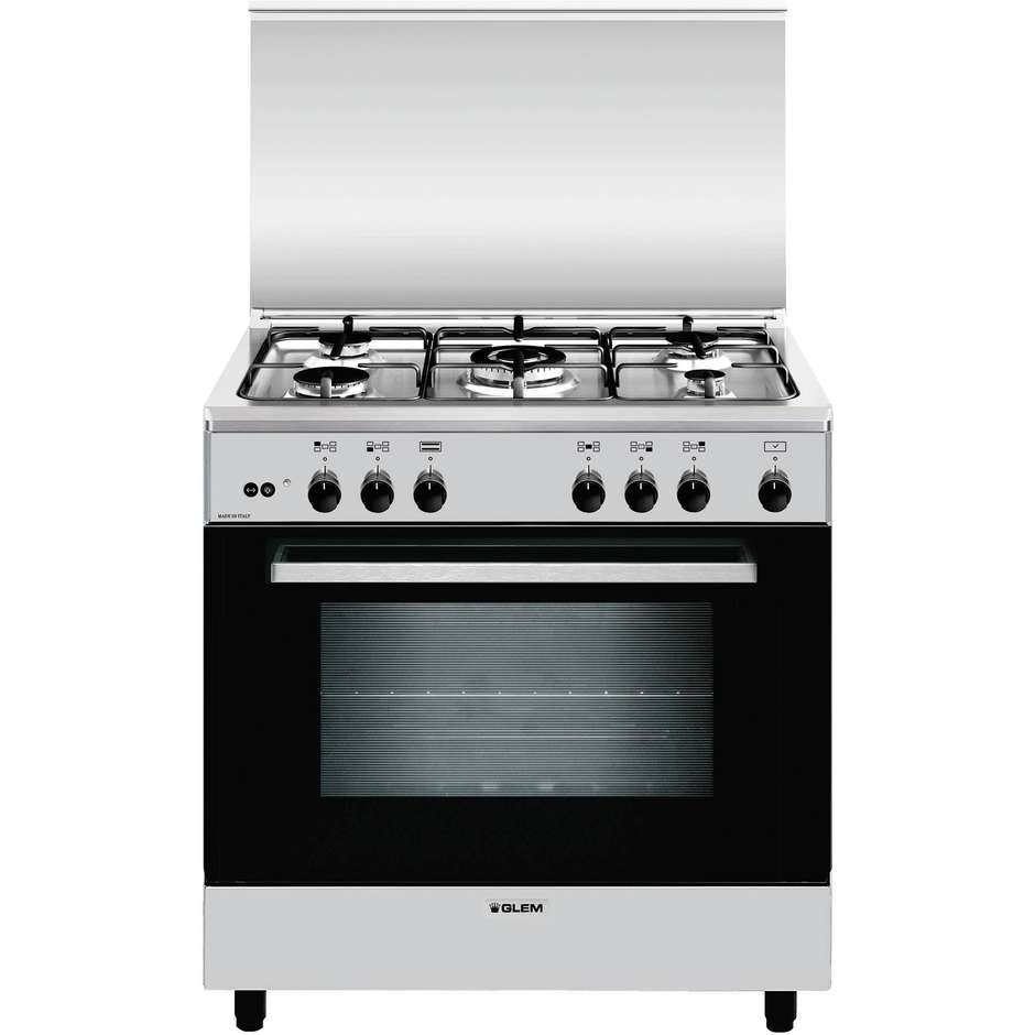 Glem gas a855gi cucina 80x50 5 fuochi a gas forno a gas con grill elettrico 95 litri classe a - Cucina 5 fuochi ...