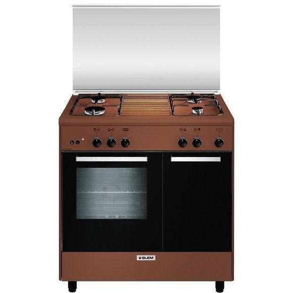 Glem Gas AR854GC cucina 80x50 4 fuochi a gas forno a gas con grill elettrico 49 litri classe A colore marrone