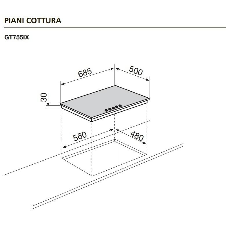 Glem Gas GT755IX piano cottura a gas 70 cm 5 fuochi colore inox