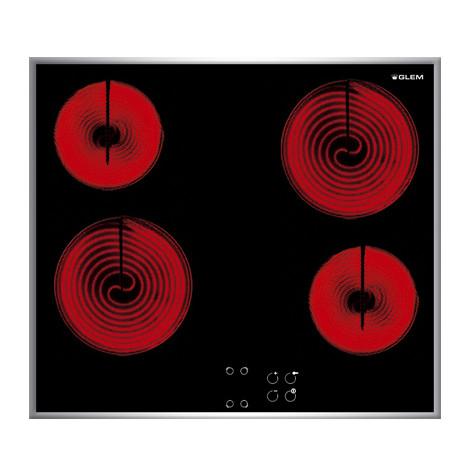 gth-64tcix glem gas piano cottura elettrico 4 zone cottura vetroceramica nero 60 cm