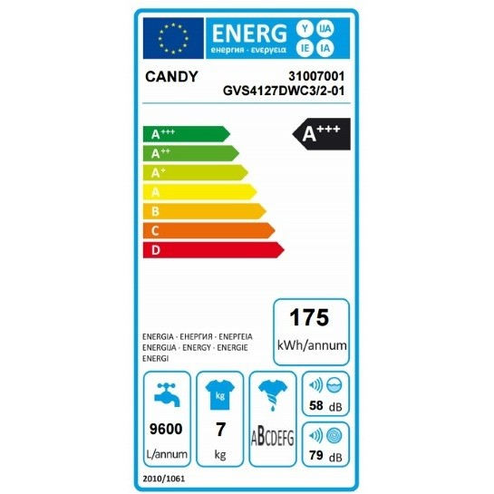 GVS4127DWC3/2-01 Candy lavatrice 40 cm carica frontale 7 Kg 1200 giri classe A+++ bianco