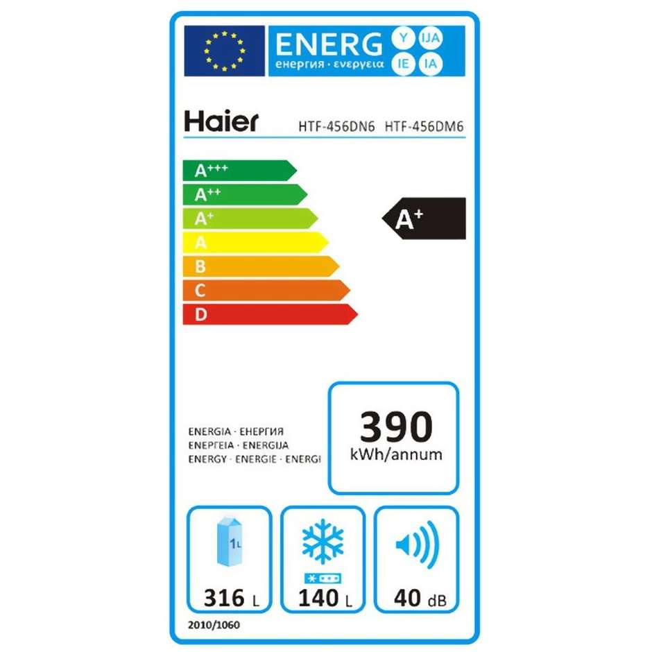Haier HTF-456DM6 frigorifero Side by Side 456 litri classe A+ Total No Frost inox