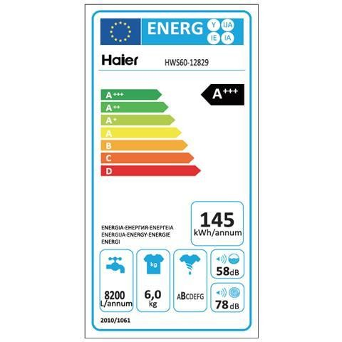 Haier HW60-12829 lavatrice 41 cm carica frontale 6 Kg 1200 giri classe A+++ colore bianco