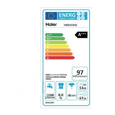 Haier HW80-B14636 lavatrice carica frontale 8Kg 1400 giri classe A+++ colore bianco