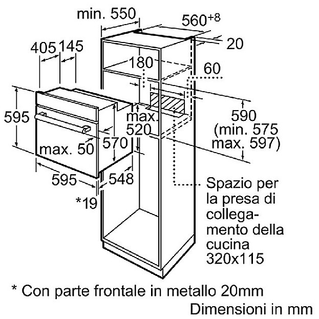 hb-63ab530j siemens forno da incasso classe a 63 litri inox
