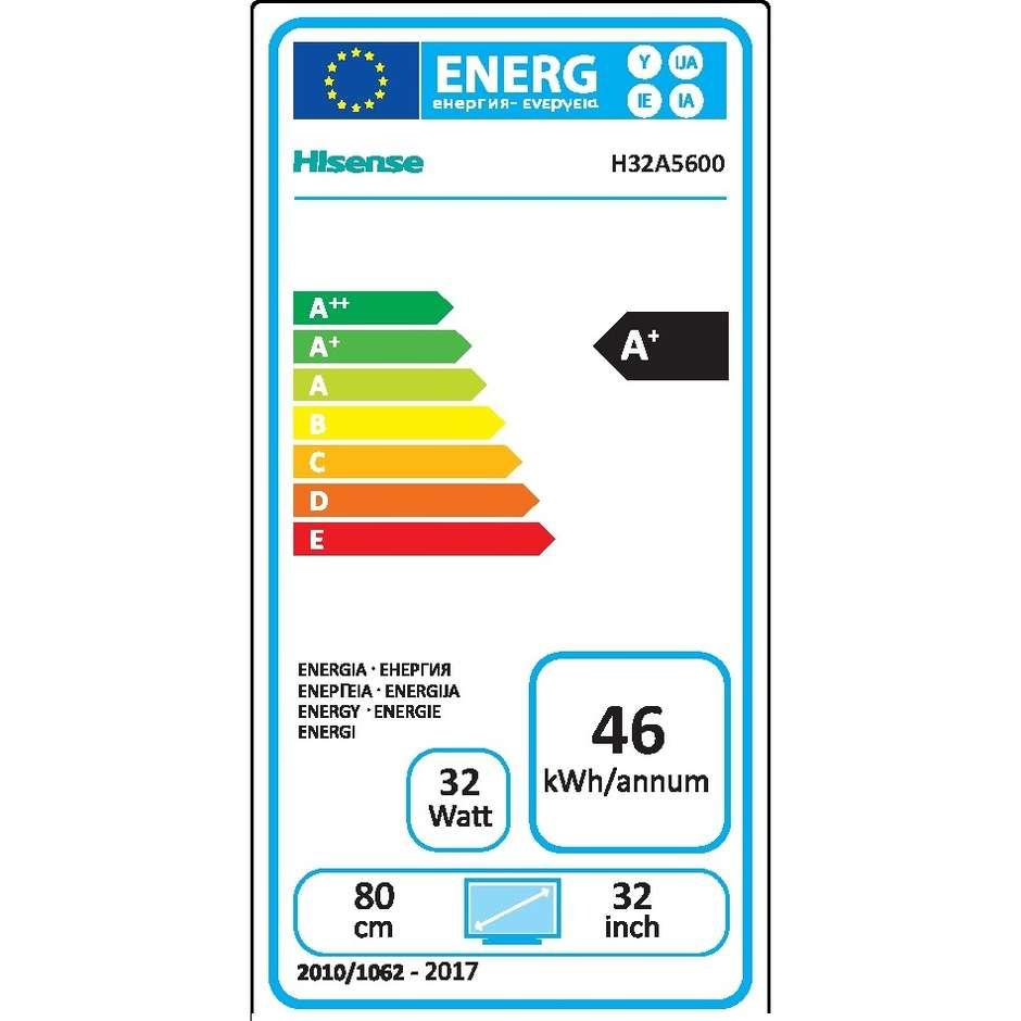 "Hisense H32A5620 Tv LED 32"" HD Ready Smart Tv Wifi classe A+ colore nero"