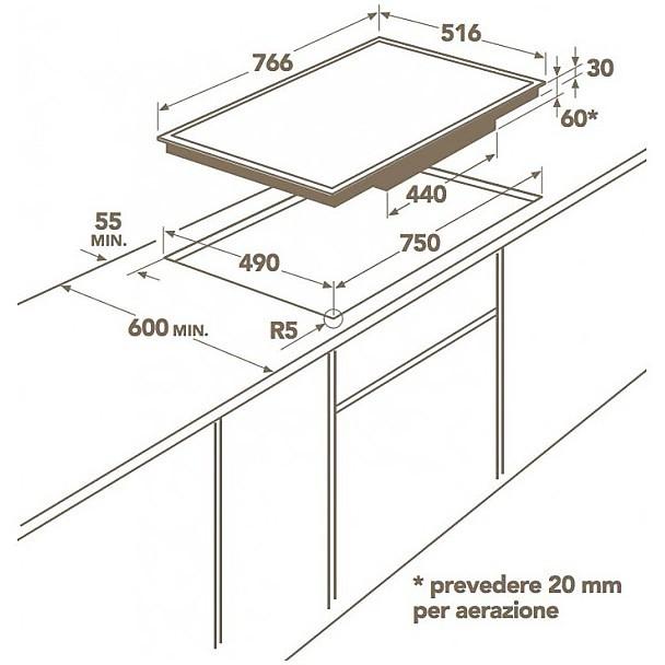 Hk 874406xb aeg piano cottura a induzione 80 cm 4 zone for Misure piano cottura 4 fuochi
