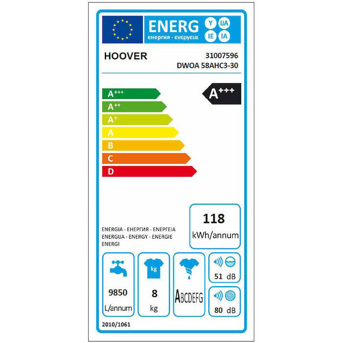 Hoover DWOA 58AHC3-30 lavatrice carica frontale 8 Kg 1500 giri classe A+++ Wifi colore bianco