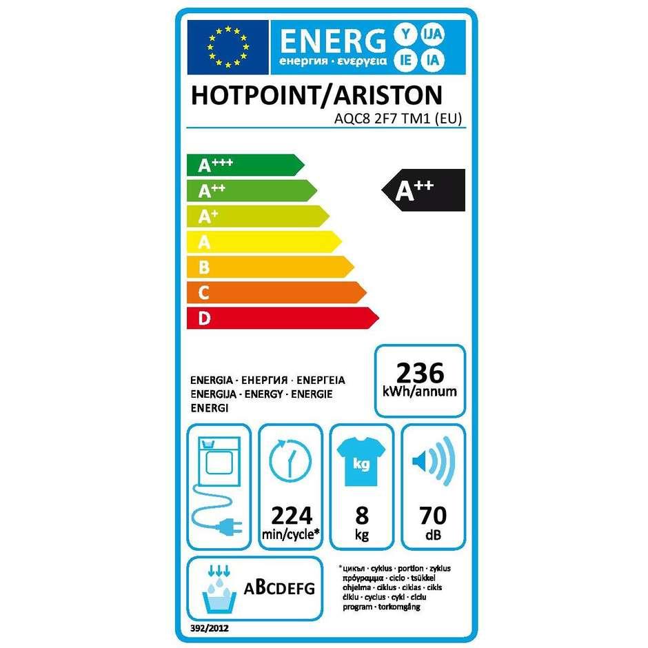 Hotpoint/Ariston AQC8 2F7 TM1 (EU) asciugatrice a condensazione con pompa di calore 8 Kg classe A++ bianco