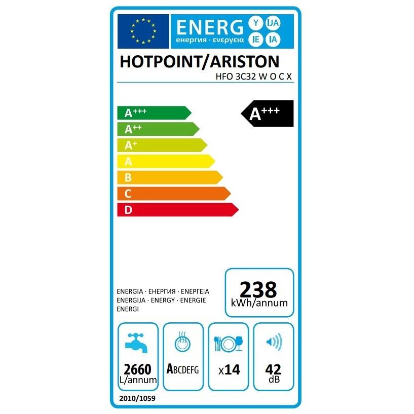 Hotpoint/Ariston HFO 3C32 W O C X Lavastoviglie 60 cm 14 coperti Classe A+++ 9 programmi colore Acciaio Inox