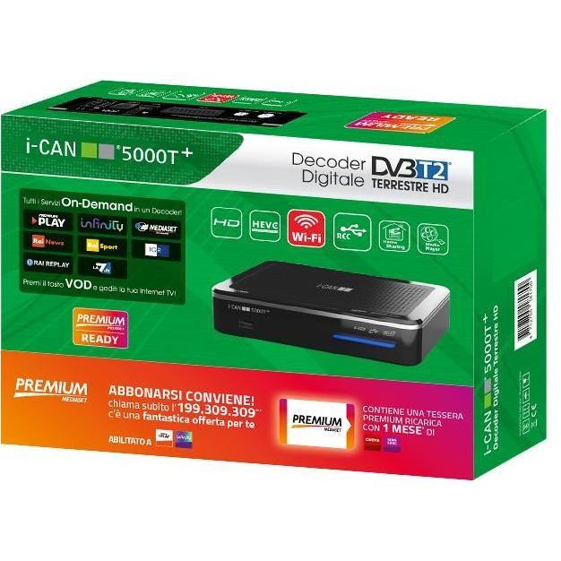 I-Can 5000T+ Decoder digitale terrestre HD Lettore smart card Wifi colore Nero