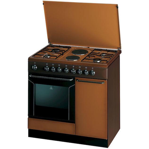 Indesit K9B11SB(B)/I cucina 90x60 4 fuochi a gas + 2 piastre elettriche forno elettrico 52 litri classe B colore marrone