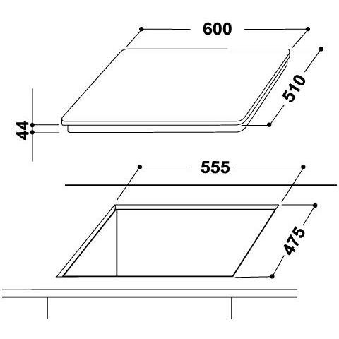Indesit PR 642 /I (WH) Piano cottura a gas 60 cm 4 fuochi Griglie smaltate Colore Bianco