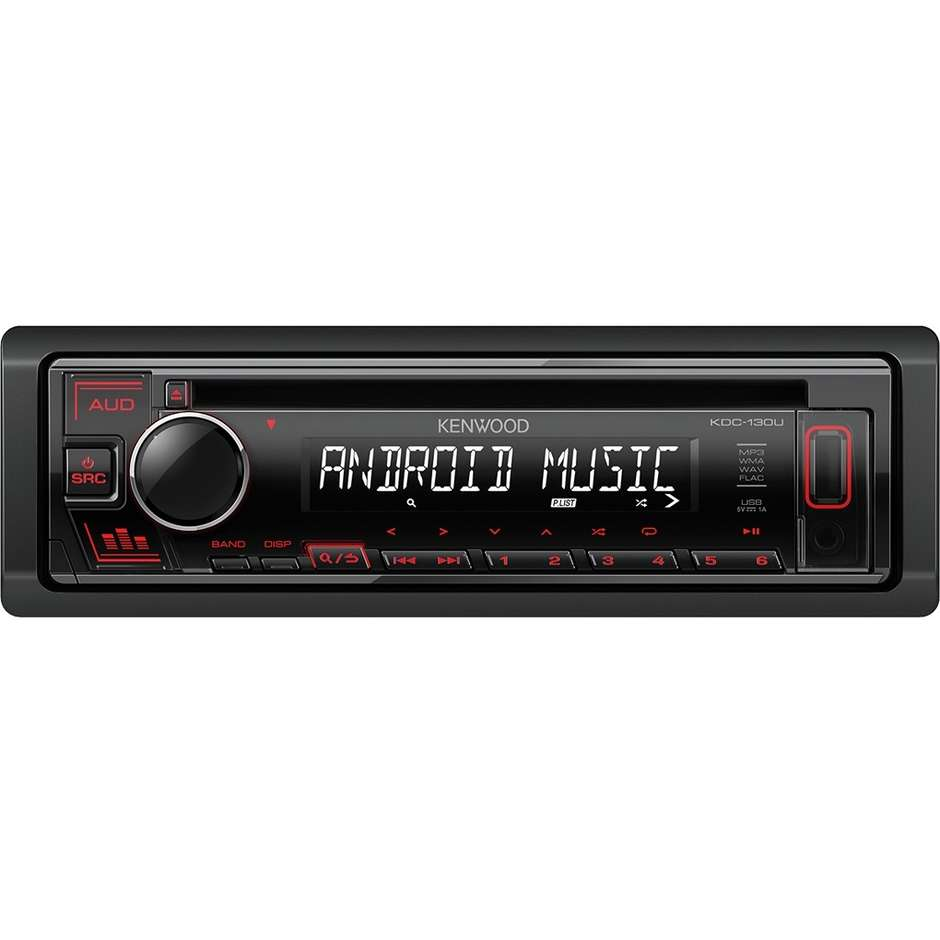 Kenwood KDC-130UR Autoradio con display LCD MP3/CD/FM ingresso USB e AUX colore Nero