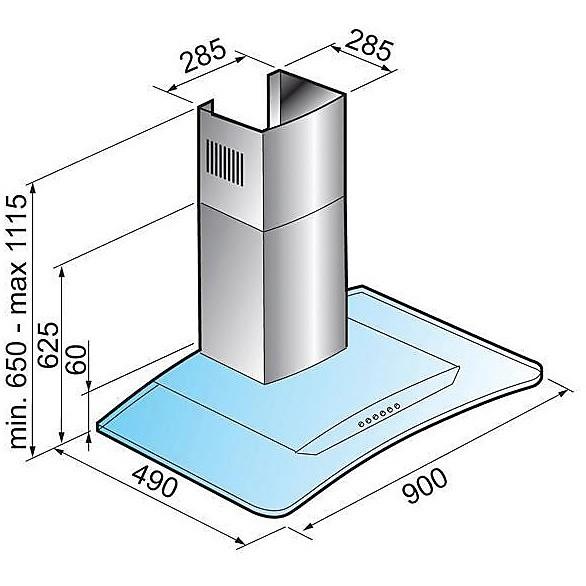 kic900intst elleci cappa crystal 900 - inox