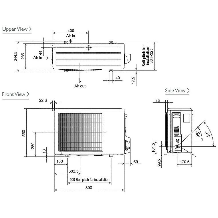 Kit Mitsubishi MSZ-EF35VE2S + MUZ-EF35VE condizionatore 12000 btu classe A+++/A++ inverter silver