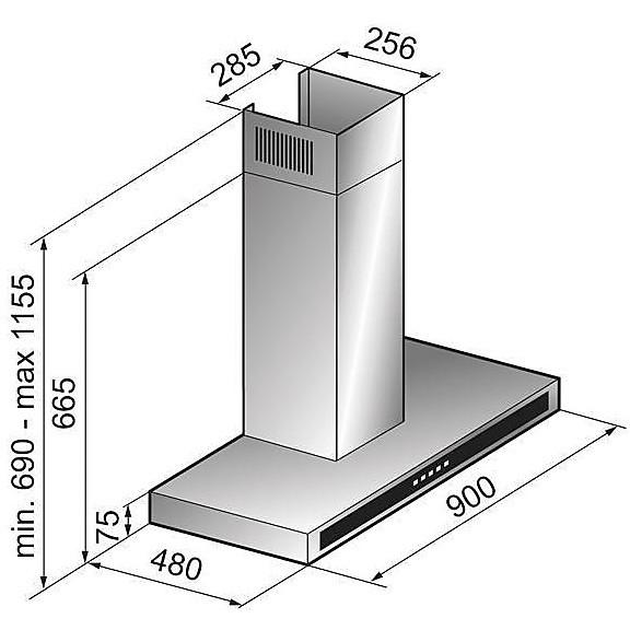 kmp90079ntc elleci cappa plana 900 - aluminium 79