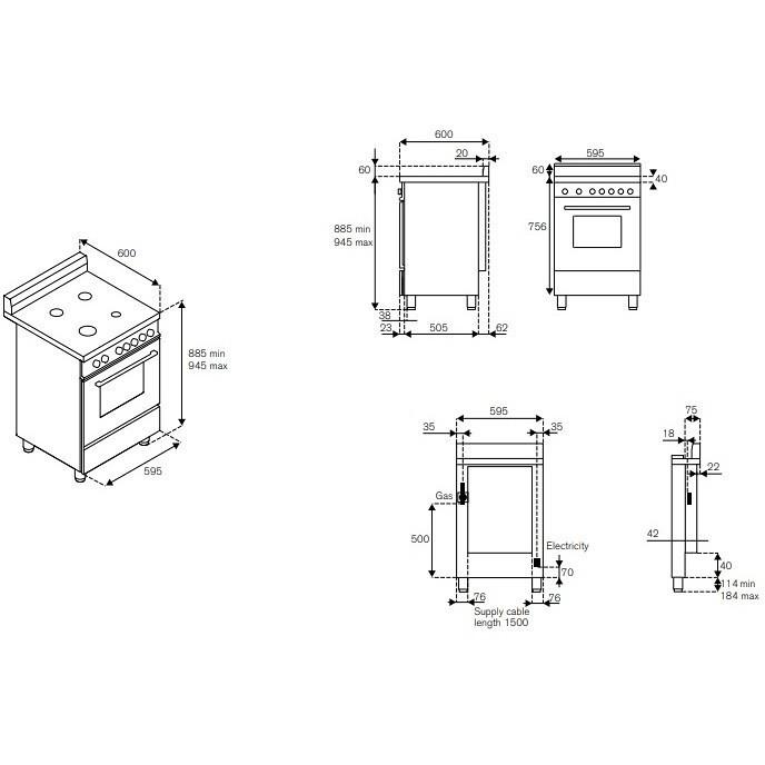 La Germania AMN664GXT cucina 60x60 4 fuochi a gas forno a gas ventilato classe A+ colore inox