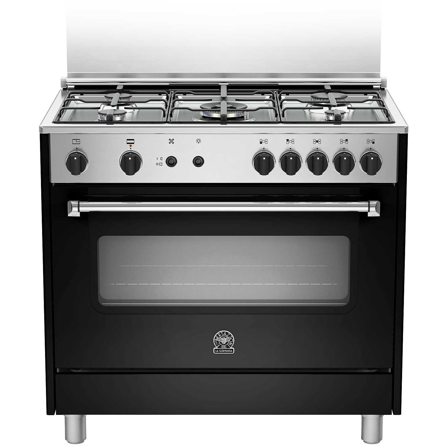 La germania amn905gevsnee cucina 90x60 5 fuochi a gas forno a gas ventilato con grill elettrico - Cucina a gas 5 fuochi ...