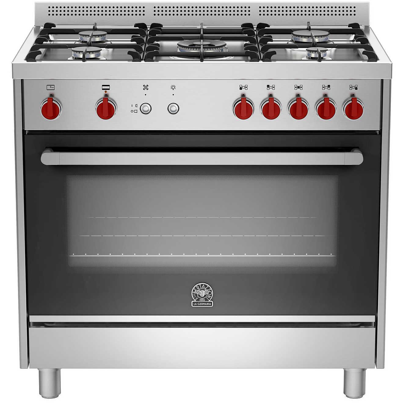 La germania prm905gevsxc cucina 90x60 5 fuochi a gas forno a gas ventilato con grill elettrico - Cucina con forno a gas ventilato ...