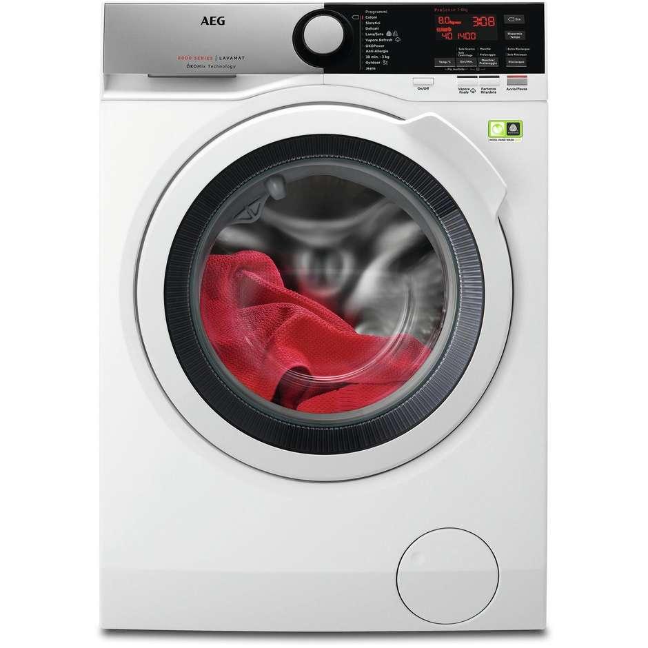 lavatrice L8FEE845 AEG carica frontale 8kg 1400g a+++-50% inverter okomix