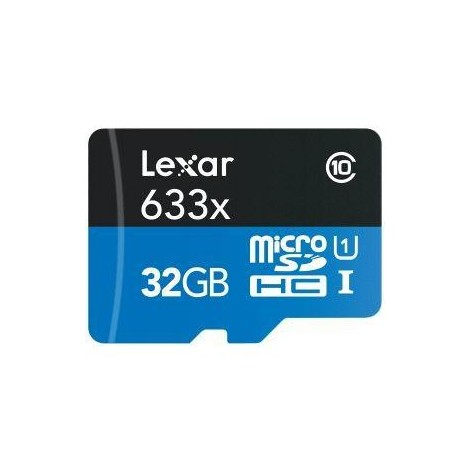 Lexar High-Perfomance 633x Memory Micro SDHC 32 Gb Classe 10 + adattatore