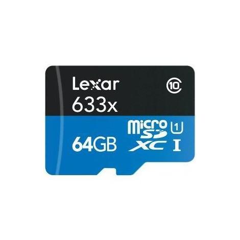 Lexar LSDMI64GBBEU633A Micro SDXC memoria 64 GB 95 MB/s + Adattatore SD