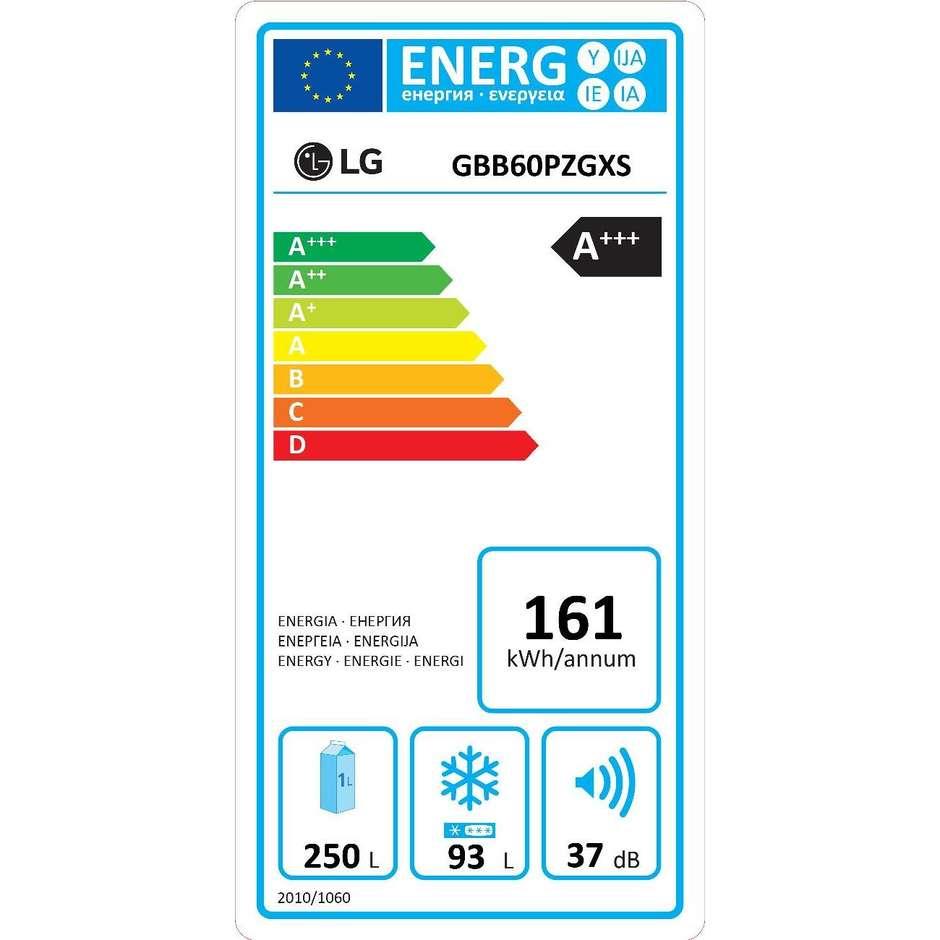 LG GBB60PZGXS Frigorifero combinato 343 litri Classe A+++ Total No Frost colore Acciaio inox