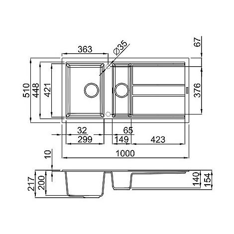 lgb47559 elleci lavello best 475 100x51 2 vasche antracite 59
