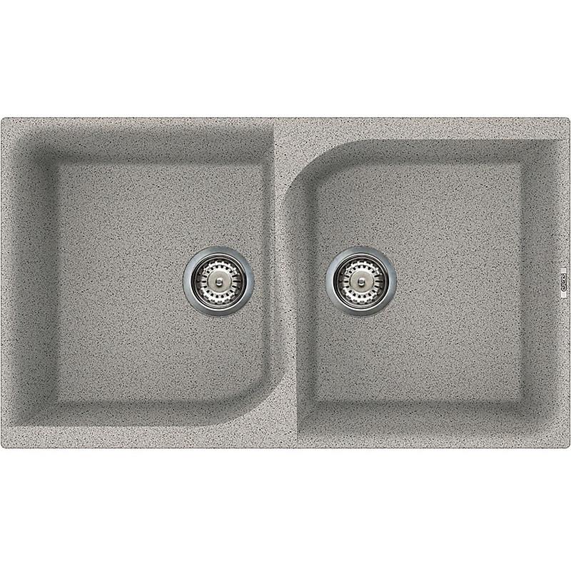 lge45055 elleci lavello ego 450 86x50 2 vasche grigio 55