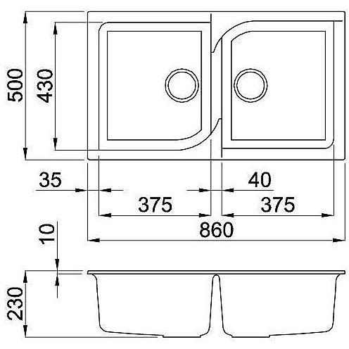 lge45059 elleci lavello ego 450 86x50 2 vasche antracite 59