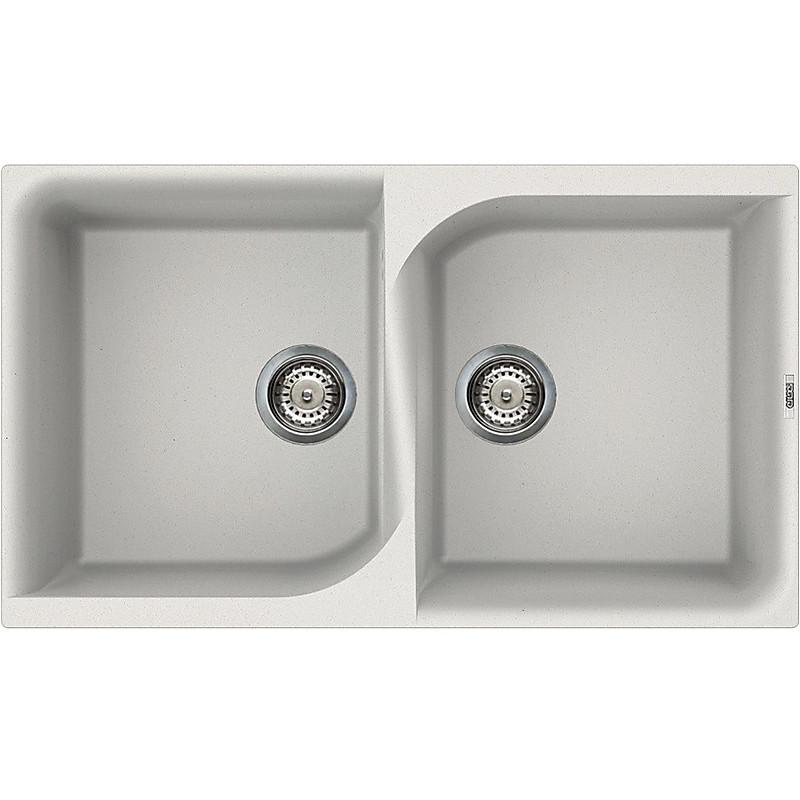lge45068 elleci lavello ego 450 86x50 2 vasche bianco titano 68