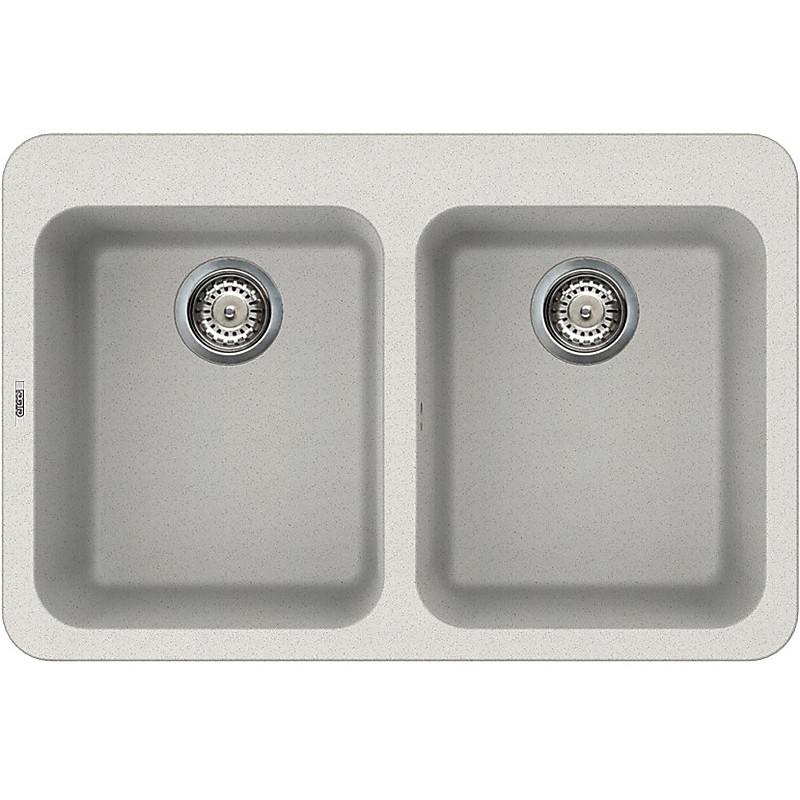 lgf34052btp elleci lavello fox 340 80x53 2 vasche bianco 52 con troppo pieno