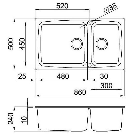 lgf45052 elleci lavello fox 450 86x50 2 vasche bianco 52
