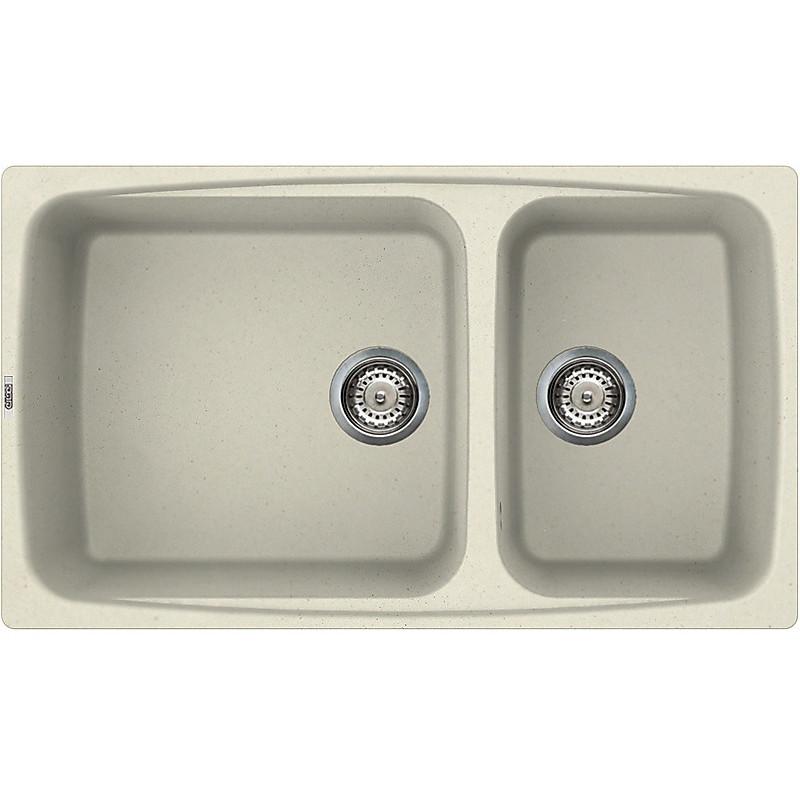 lgf45062 elleci lavello fox 450 86x50 2 vasche bianco antico 62