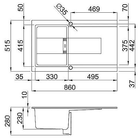 lgi40052smt elleci lavello smart 400 86x51,6 1 vasca bianco 52 meccanico