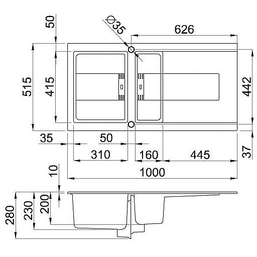 lgi47562smt elleci lavello smart 475 100x51,6 1+1/2 vasche bianco antico 62 meccanico